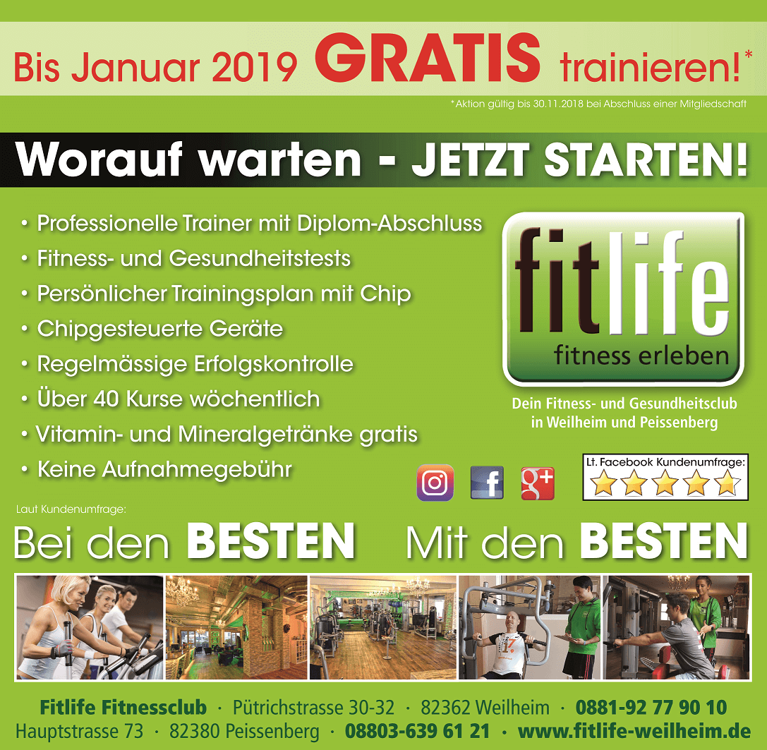Fitnessclub (Fitnesscenter) in Weilheim & Peißenberg: Fitnessstudio ...